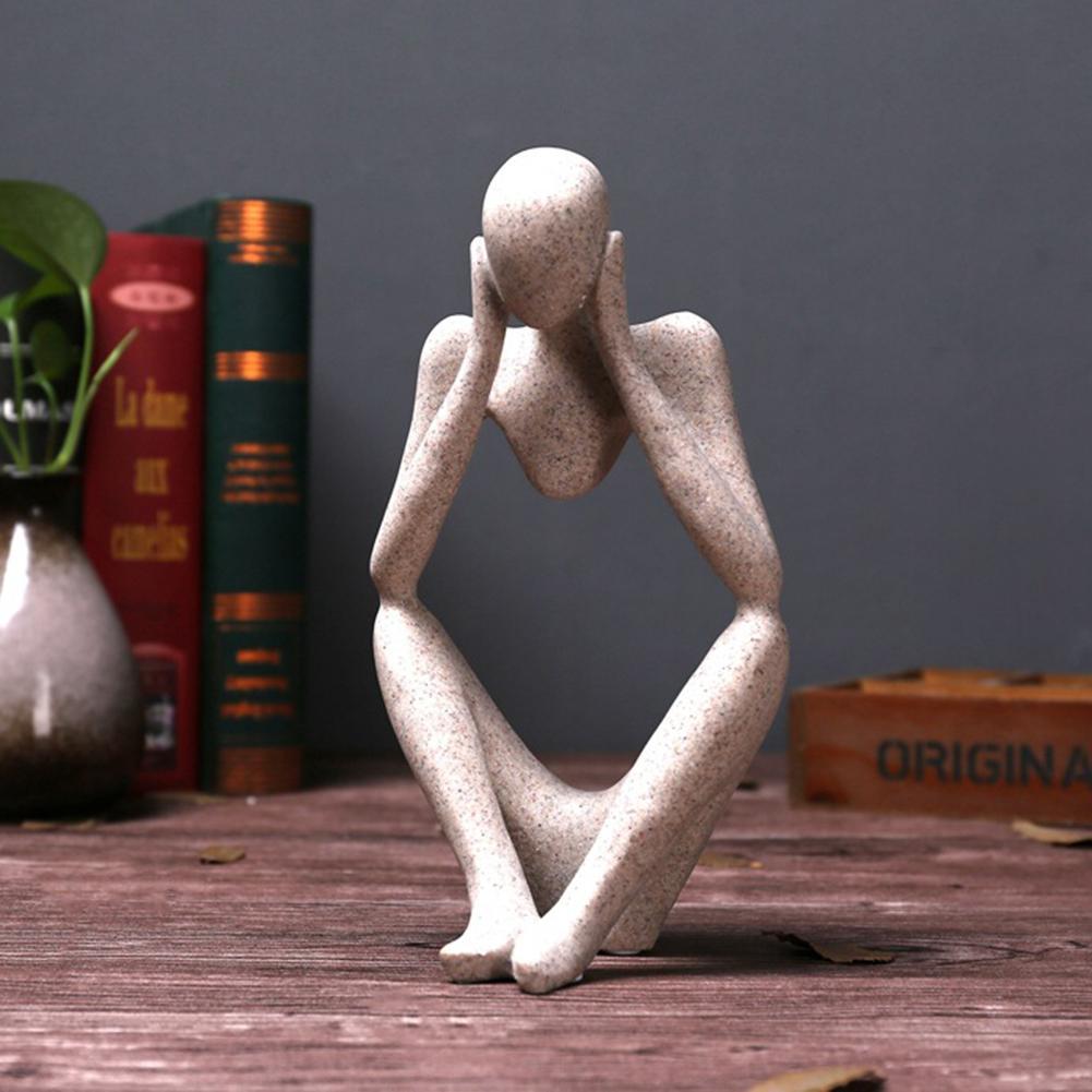 Forgetive Hars Standbeelden Creatieve Abstracte Denker Mensen Sculpturen Miniatuur Beeldjes Craft Office Home Decoratie Accessoires