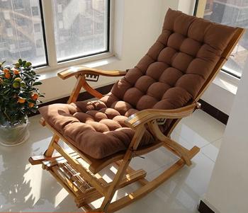 Home Outdoor Nap rozkładany fotel wypoczynkowy składany bambusowy fotel bujany regulowany fotel oparcia miękka mata tanie i dobre opinie CN (pochodzenie) Nowoczesne Meble do salonu Szezlong Meble do domu BAMBOO