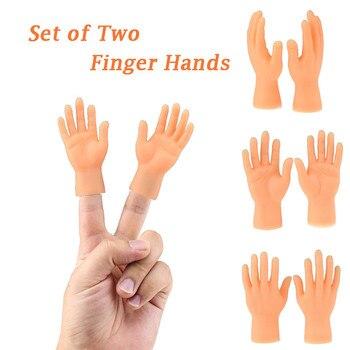 Nowe zabawki z dwoma palcami ręcznie Finger Puppets nowość śmieszne śmieszne zestaw dwóch palec ręka palec lalki wykonane z silikonu grać z