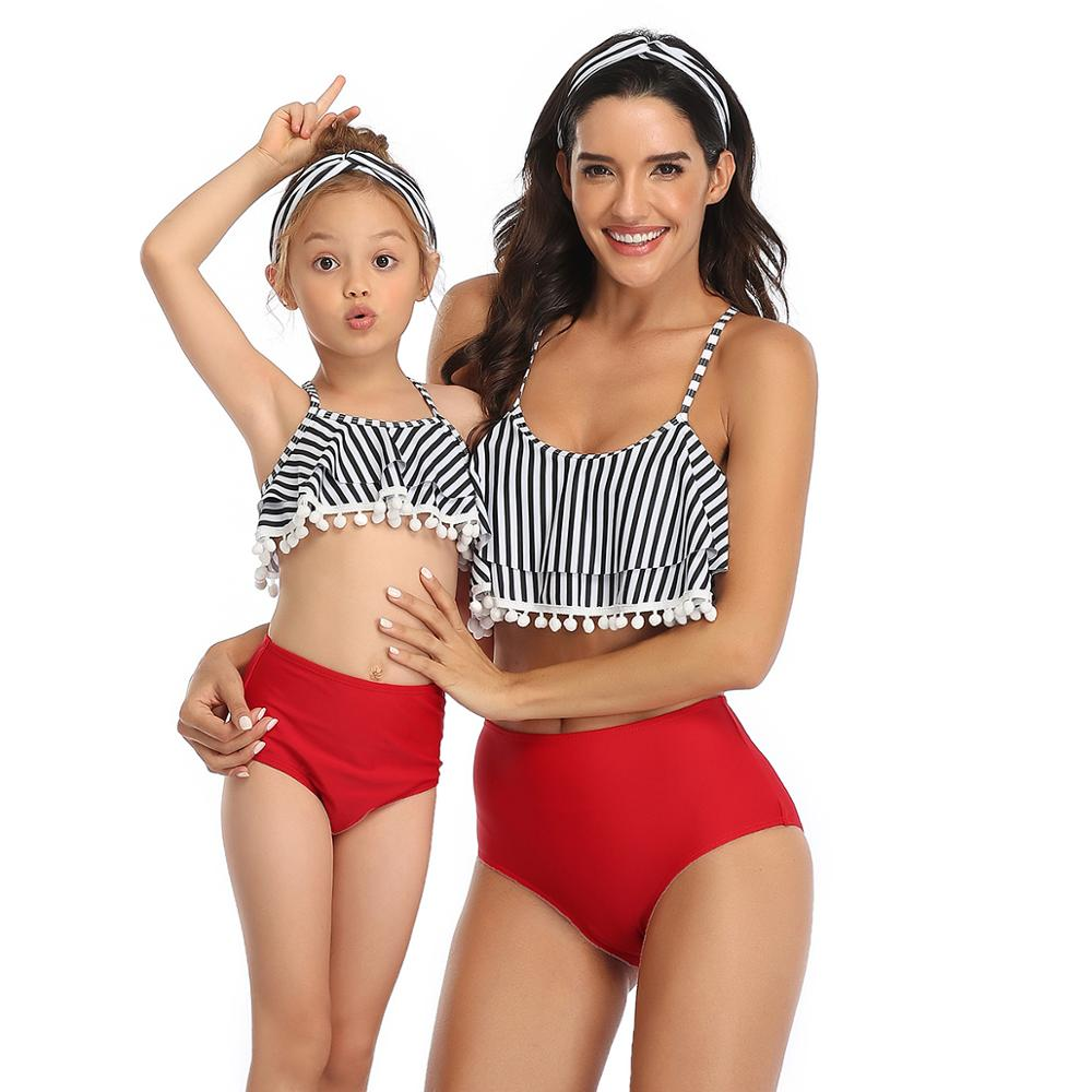 Women Girl Family Matching Swimwear Mother Daughter Summer Beach Halter Ruffle Tankini Swimsuit Bathing Suit