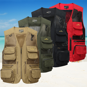 Men's Tactical Fishing Vest jacket man Multi Pockets outdoor Sleeveless Cotton Zipper Waistcoat Male Outerwear plus size S-4XL