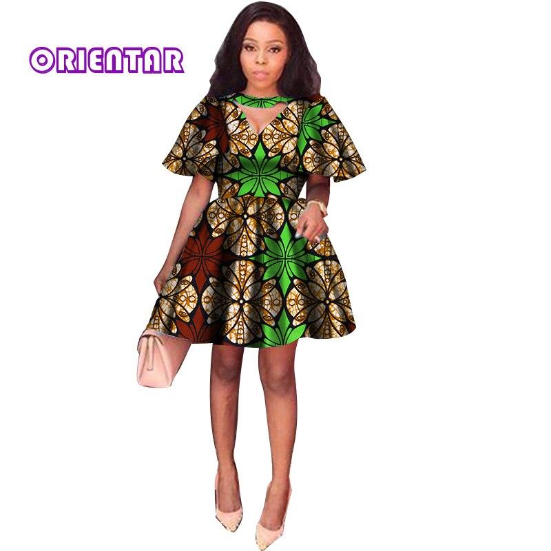2018 D'été Robes Africaines pour Femmes Impression Tradition Dashiki Robe Manches Courtes décontracté Vêtements Indiens Dame Vêtements WY2869 - 3