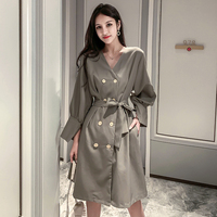 2019 Autumn Long Sleeve Double Breasted Women Dress Double Breasted Fashion French Maxi Dresses For Womens Elegant