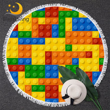 BlessLiving Toy Print Round Beach Towel for Kids Dot Building Blocks Tapestry Colorful Yoga Mat Bricks Game Toalla Blanket 150cm(China)