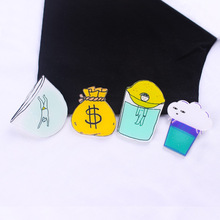 Man In The Glass Bow Acrylic Brooches Lemon Badges On a Backpack Set Icon Pins On Garment Jewelry Gift