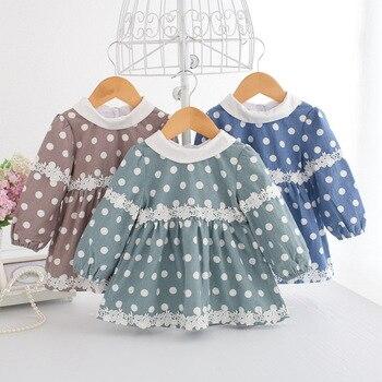 Wholesale 5pcs/lot Baby Dress Lantern Sleeve Infant Dress Toddler Girls Princess Dresses Polka Dot Baby Girls Clothing 0-2Y