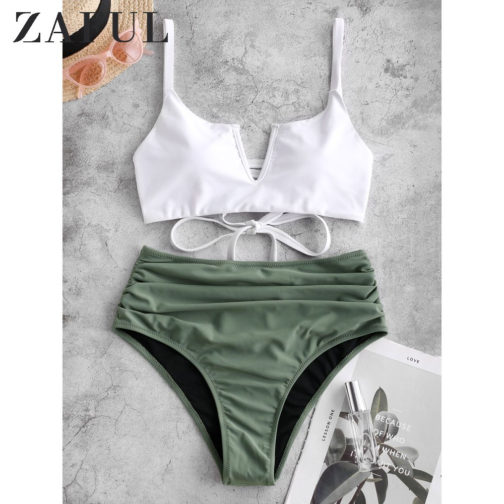 ZAFUL Women V-Wired Lace Up Ruched Tankini Swimsuit High Waisted Straps Swimwear Removable Padded Ruched Bathing Suits Summer