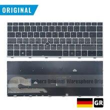 마우스 포인트 독일어 레이아웃이있는 HP EliteBook 840 G5 용 새 원본 GR 백라이트 키보드