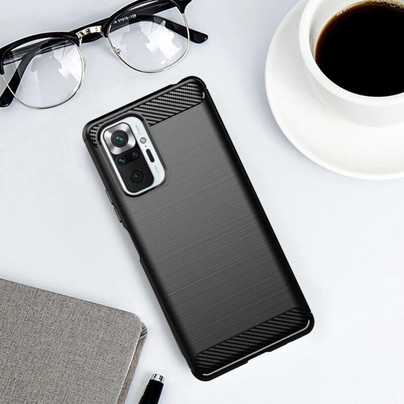 Funda de goma suave de TPU para Xiaomi Redmi Note 10 Pro, carcasa antigolpes de fibra de carbono, 9T, 8T, 9S, 10T Pro, 11 Lite 6