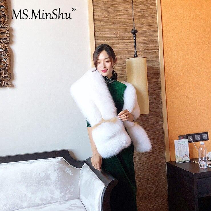 MS.MinShu bufanda de piel de zorro de lujo gran bufanda de piel de zorro Natural estola de piel de zorro genuino chal de bolsillo Vestidos de Noche de moda - 2