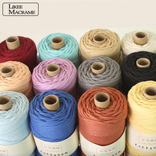 3mm 100% Cotton Cord Colorful Cord Rope Braided Cotton Craft Macrame String DIY Home Textile Wedding Decorative supply 110yards