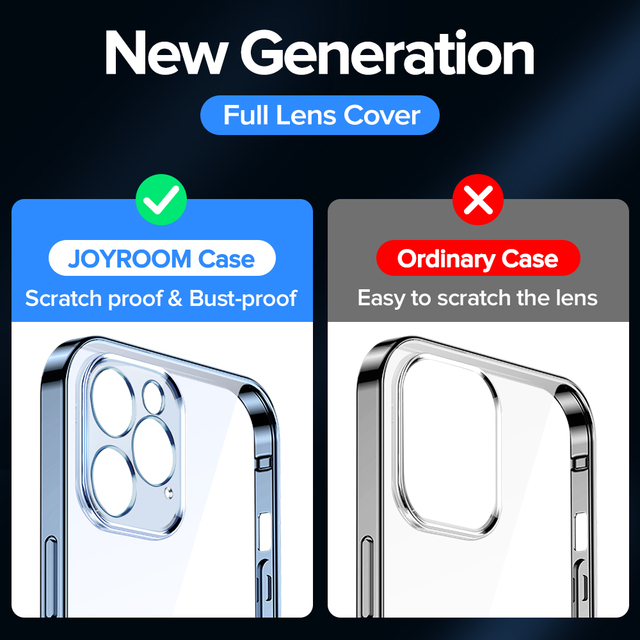 Joyroom Clear Case For iPhone 12 11 Pro Max Back PC+TPU Shockproof Full Lens Protection Cover For iPhone 12mini Transparent Case 2