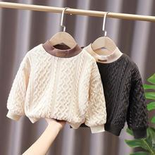 Jacket Sweaters Pullovers Knitted Boys Winter Children 3-8t Velvet Loose Warm Plush-Inside