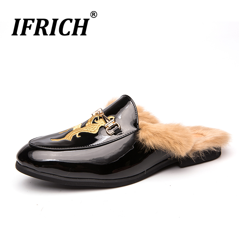 Buy 2019 New Trend Men Half slippers Winter With Fur Flats Shoes Men Warm Fur Sneakers For Mens Slip On Youth Fashion Men Shoes