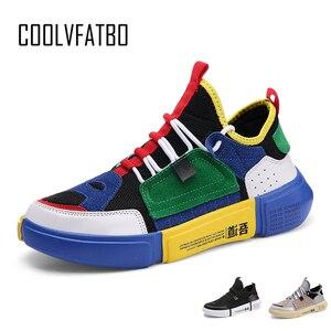 Image 1 - COOLVFATBO Trendy Sneakers rahat ayakkabılar erkekler marka spor ayakkabı erkekler nefes erkek ayakkabı karışık renkler erkek ayakkabısı yürüyüş erkek düz