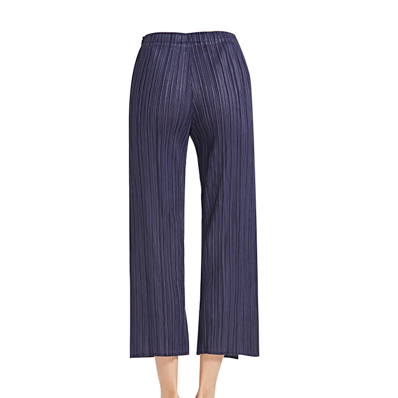 TVVOVVIN Color sólido cintura baja banda elástica plisada pantalones partidos Mujer Pantalones rectos moda 2019 otoño invierno nuevo D339 - 5