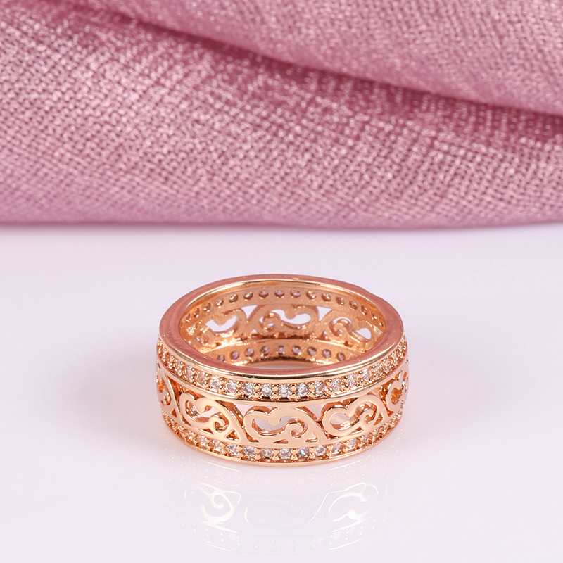 Kinel New Arrivals 585 Rose Gold Ring Double Row Micro-wax Inlay Natural Zircon Hollow Rings Women Wedding Party Fine Jewelry