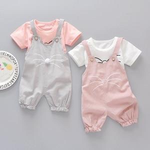 Novo verão roupas da menina do bebê bonito gato bigode bebê terno de manga curta camiseta + calças siameses 2 peça conjunto 3 meses-4 anos