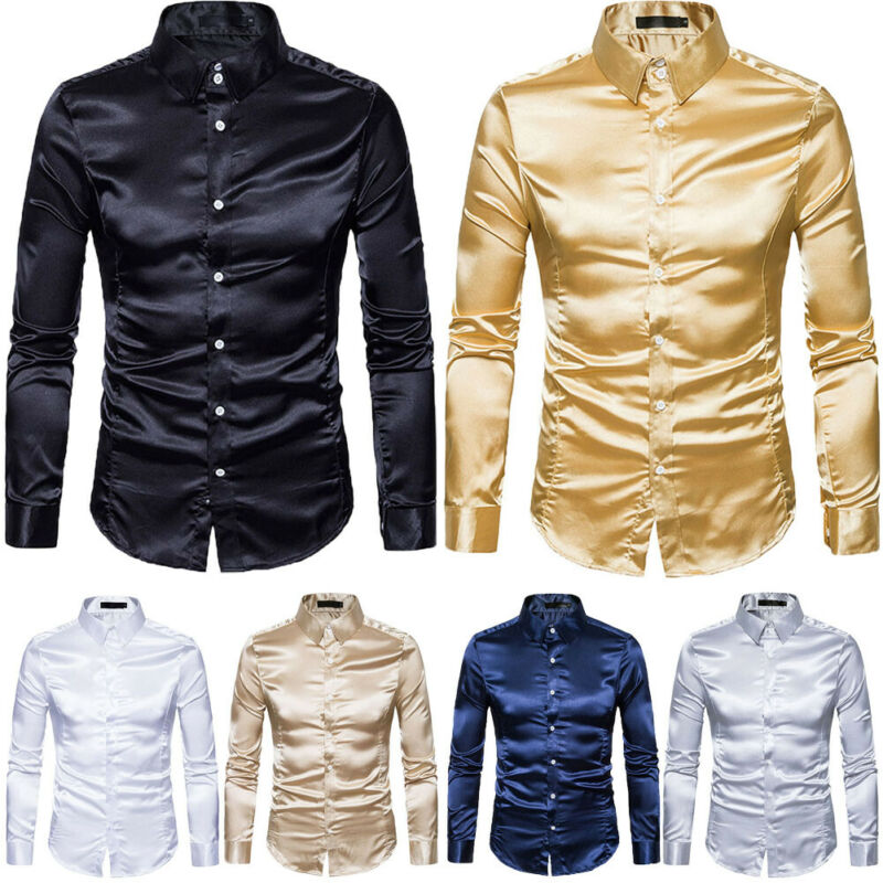 New Men's Silk Satin Long Sleeve Turn-down Collar Casual Shirt Male Ruffled Vintage Wedding Dress Shirts Plus Size