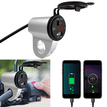 Motorcycle USB Charger Car Fast Charger Universal With Switch Mobile Phone Adapter 2.4A Digital Display Aluminum Alloy