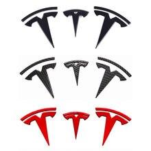 Für Tesla modell 3 Front Logo lenkrad logo Hinten logo Aufkleber Carbon Fiber ABS Modell 3 Auto Vorne Hinten aufkleber Zubehör