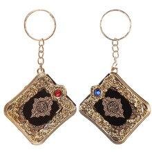 Muçulmano islâmico mini pingente chaveiros chaveiros para alcorão arca livro real papel pode ler pequeno religioso jóias presente