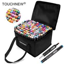 TOUCHNEW перманентные маркеры, спиртовые чернила, кисточки, Двойные наконечники, профессиональный набор маркеров для рисования, художественны...