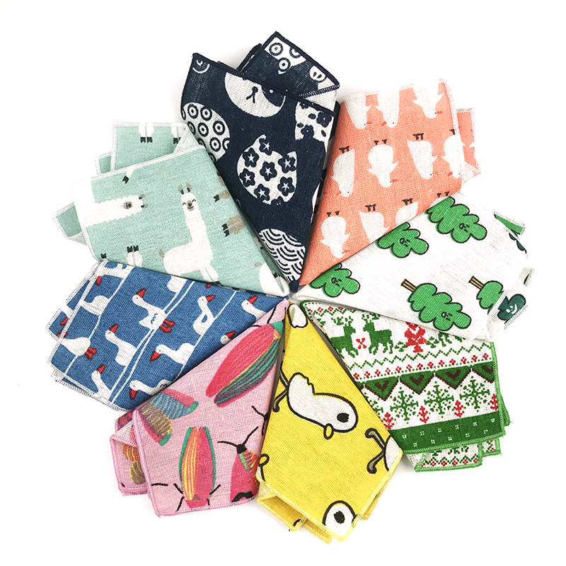 New Arrival Cartoon Colorful Cotton  Line Pocket Square Mens Handkerchief