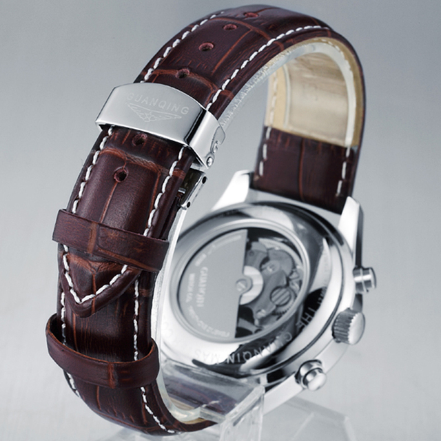 GUANQIN Luxury Casual Waterproof Genuine Leather Mechanical Wrist Watch 3