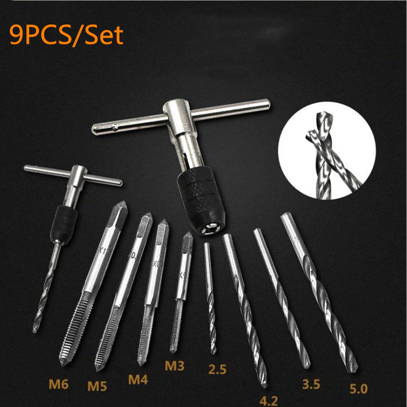 9pcs T-type Machine Hand Screw Tap Wrench M3/M4/M5/M6 Tap Die Set Straight Fluted Screw Thread Metric Plug Tap Drill