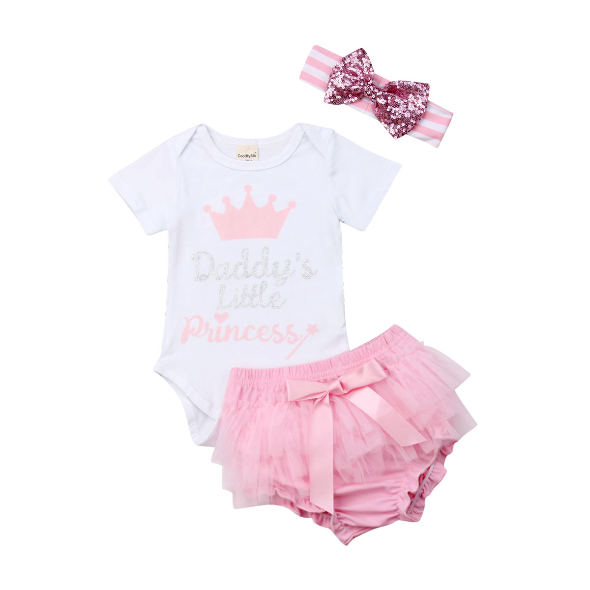 US 3PCS Infant Baby Girl Daddy/'s Little Princess Tops Romper Tutu Shorts Outfit
