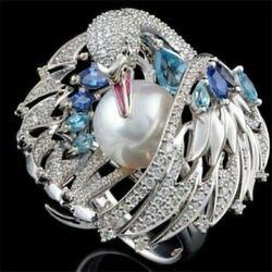 Bague de cygne blanc de luxe pour femme Zircon Micro-incrusté perle simulée couleur argent aile de cristal bijoux de mode 50P389