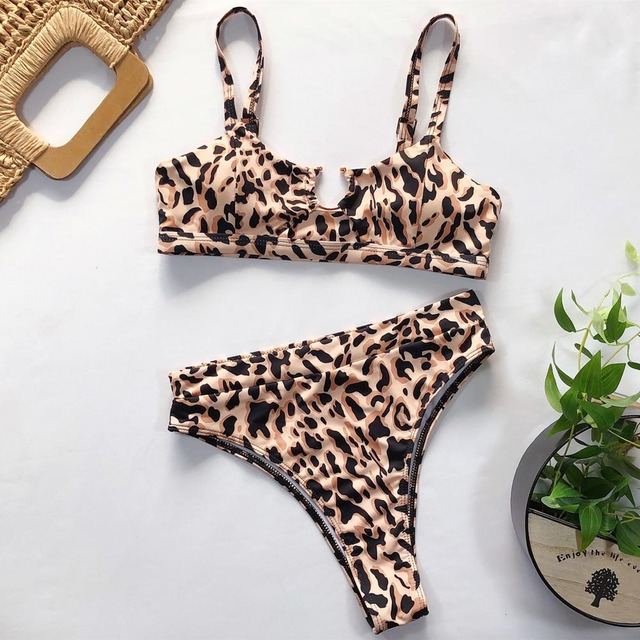 Leopard Cross Bandage Bikini Set Sexy Hollow Out Swimsuit Female Leopard Push Up Swimwear Women 2020 Bow Biquini Strap Beachwear 10