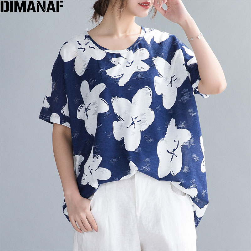 DIMANAF 2020 Plus Size Women T Shirts Summer Lady Tops Hole Patchwork Floral Print O-Neck Cotton Hawaiian Fashion Loose Clothing
