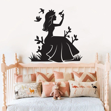 Disney Fairy Girl Vinyl Wall Sticker Princess With Birds Decals Girls Nursery Decor Alice Crown Mural