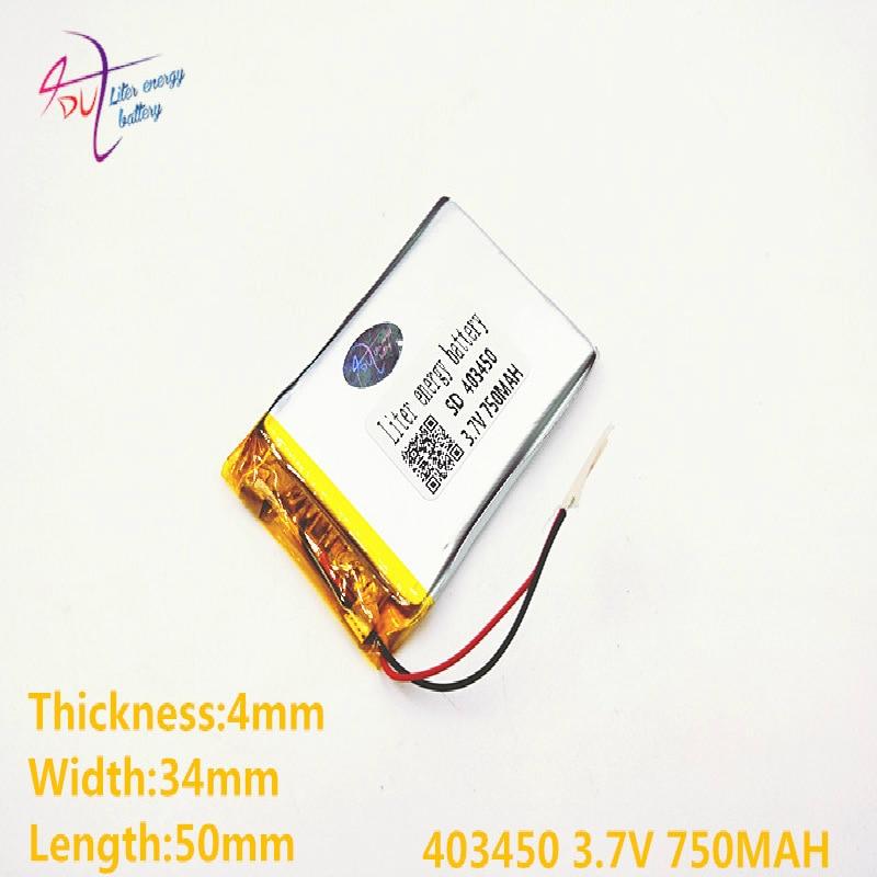 Liter Energy Battery 403450 3.7V 750mAH 383450 PLIB Polymer Lithium Ion / Li-ion Battery For GPS Mp3 Mp4 Mp5 Dvd