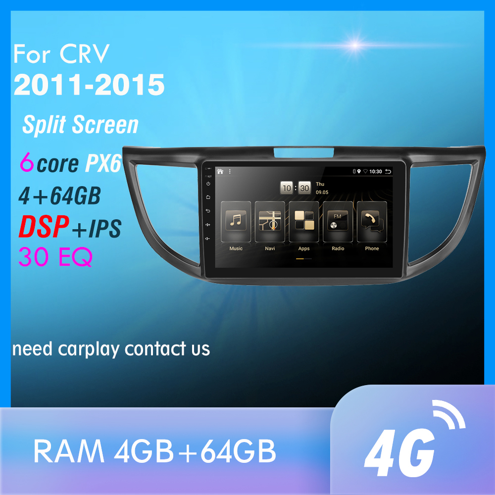 px6 Android 9 Car Radio for <font><b>CRV</b></font> 2011 2012 <font><b>2013</b></font> 2014 2015 Multimedia Video Player Navigation <font><b>GPS</b></font> Android 9.0 4G WIFI Autoradio image