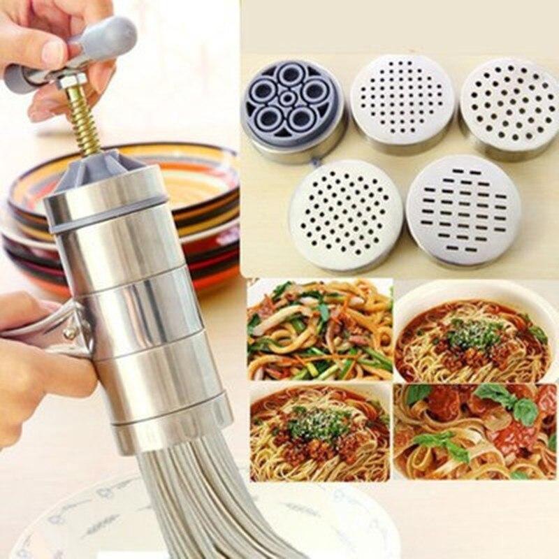Edelstahl Noodle Maker Manuelle Pasta Maschine Multi-funktion Haushalt Kleine Manuelle Entsafter Presse Silikon Kneten Teig Tasche