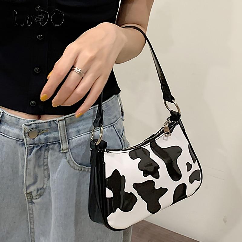 LUCDO Fashion Women's Small Baguette Bag Luxury Brand Milk Cow Print Female Messenger Shoulder Bag Women Leather Handbags