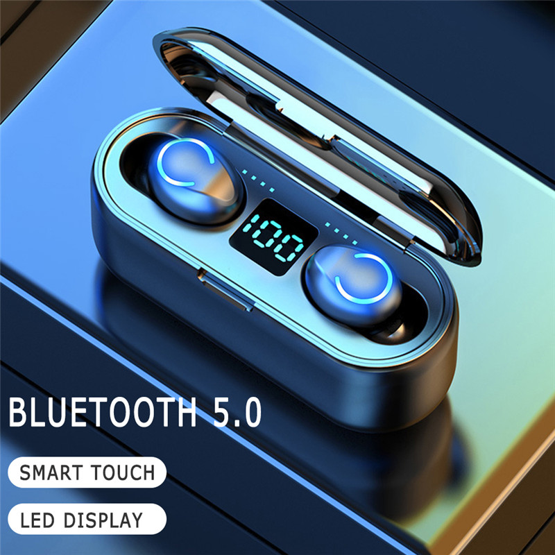 Bluetooth V5.0 Earphone Wireless Earphones Stereo Sport CVC8.0 Noise Cancelling Earbuds Headset 3000mAh Power Bank Phone Charge