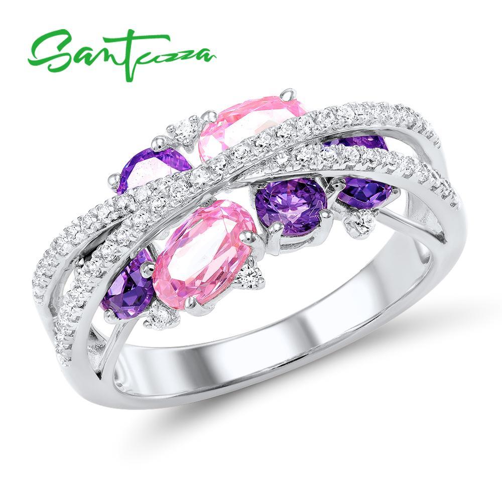 SANTUZZA Silver Rings For Women Genuine 925 Sterling Silver Shimmering Amethyst Pink Cubic Zirconia Trendy Luxury Fine Jewelry