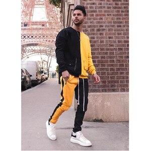 Image 2 - Strój sportowy marki męska casual strój sportowy moda kurtka z zamkiem + spodnie męski strój sportowy męska fitness jogging odzież sportowa