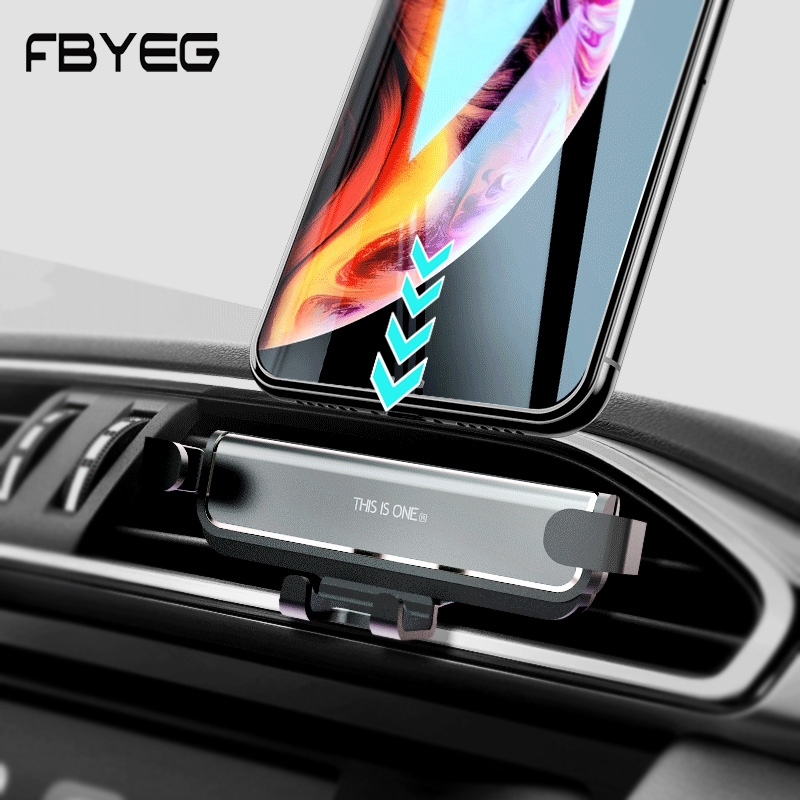 FBYEG New Car Phone Holder 25.5mm Stand Gravity Phone Holder Air Vent Clip Mount No Magnetic Mobile Support Smartphone In Car