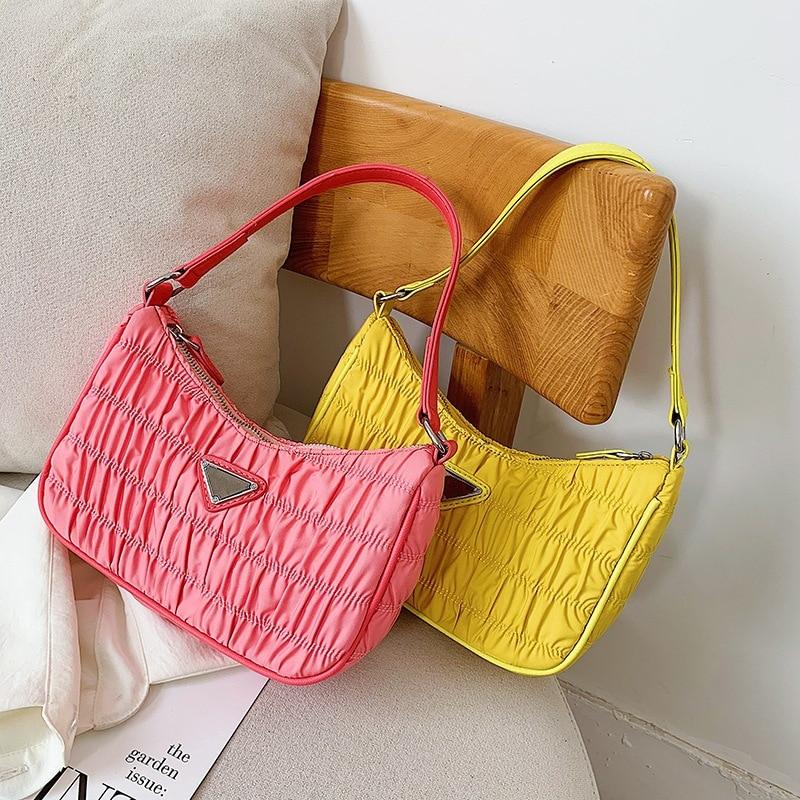 Bags Women Hobos Handbags New Stylish Totes Shoulder Bag Ladies Pleated Candy Color Nylon Fashion Sweet Cute