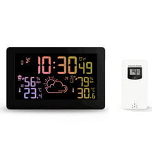 Protmex PT3378A Wireless Weather Station Temperature Humidity Sensor Colorful LCD Display Weather Forecast RCC Clock In/Outdoor