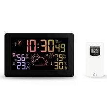 Protmex PT3378A محطة الطقس اللاسلكية مستشعر درجة الحرارة والرطوبة شاشة إل سي دي ملونة عرض توقعات الطقس RCC على مدار الساعة في/في الهواء الطلق
