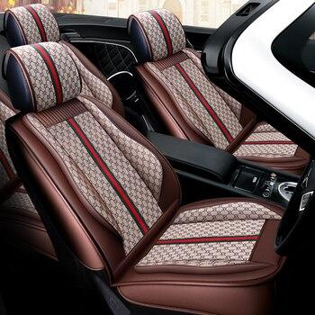 La cobertura completa asiento de cuero PU cubierta de la fibra de lino fundas de asientos de coche para BMW Mini F54 R55 R59 F55 R56 R60 F56 R57 R61 F57 R58 Sm