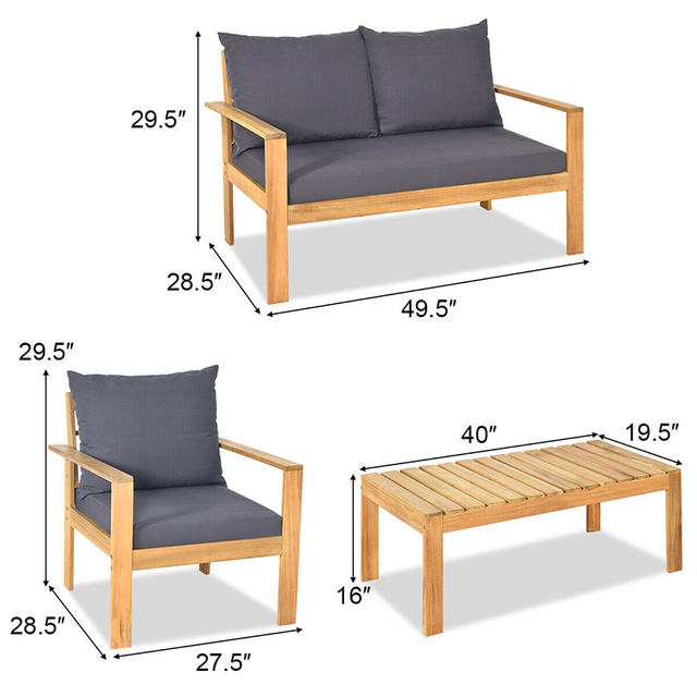 COSTWAY  4PCS  Wood Patio Set  2