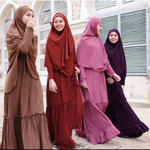 Abaya Hijab Islamic Clothes Prayer-Set Jilbab Muslim Dubai Long-Sleeve Women with Tiered
