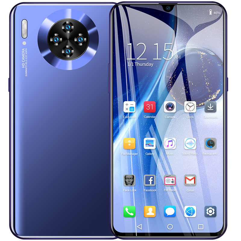 Newest Smartphone 8GB 256GB Four cameras Mobile phone Snapdragon 855 Plus Octa Core FHD LED Screen 2020 4G Smartphone Mate 30(China)